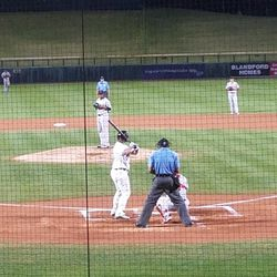 Sheldon Neuse bats in the second inning