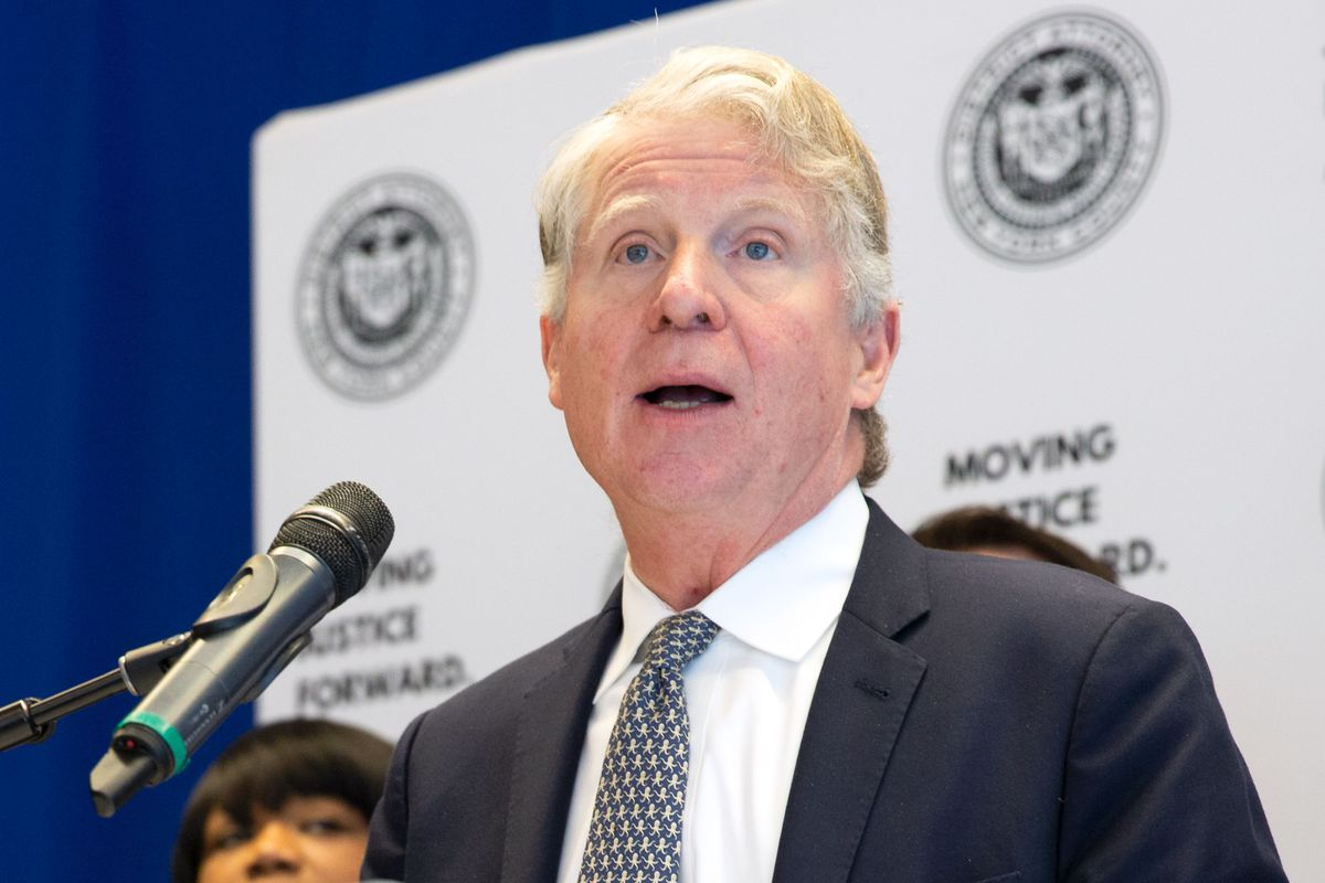 Manhattan District Attorney Cyrus Vance, Jr. announces during a press conference at John Jay College of Criminal Justice the results of a nationwide program that tested more than 55,000 rape kits, March 12, 2019.