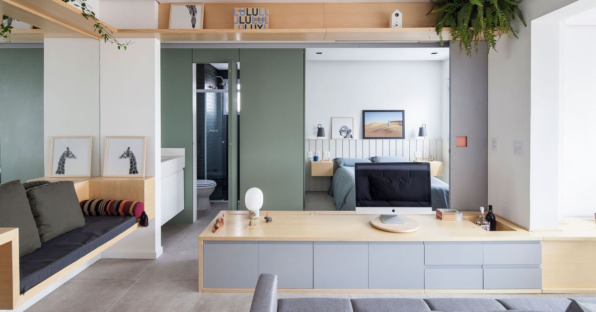 Efficient tiny apartment lives large with clever built ins for Element apartments reno