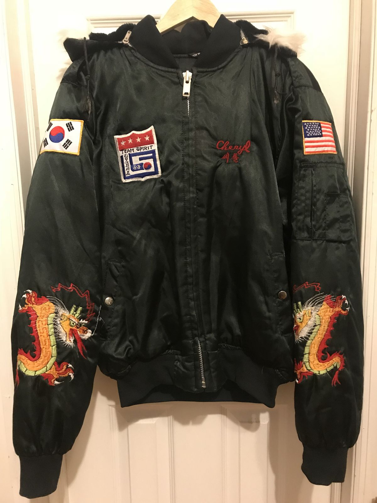 A bomber jacket from the 1988 Olympics in Seoul, South Korea.
