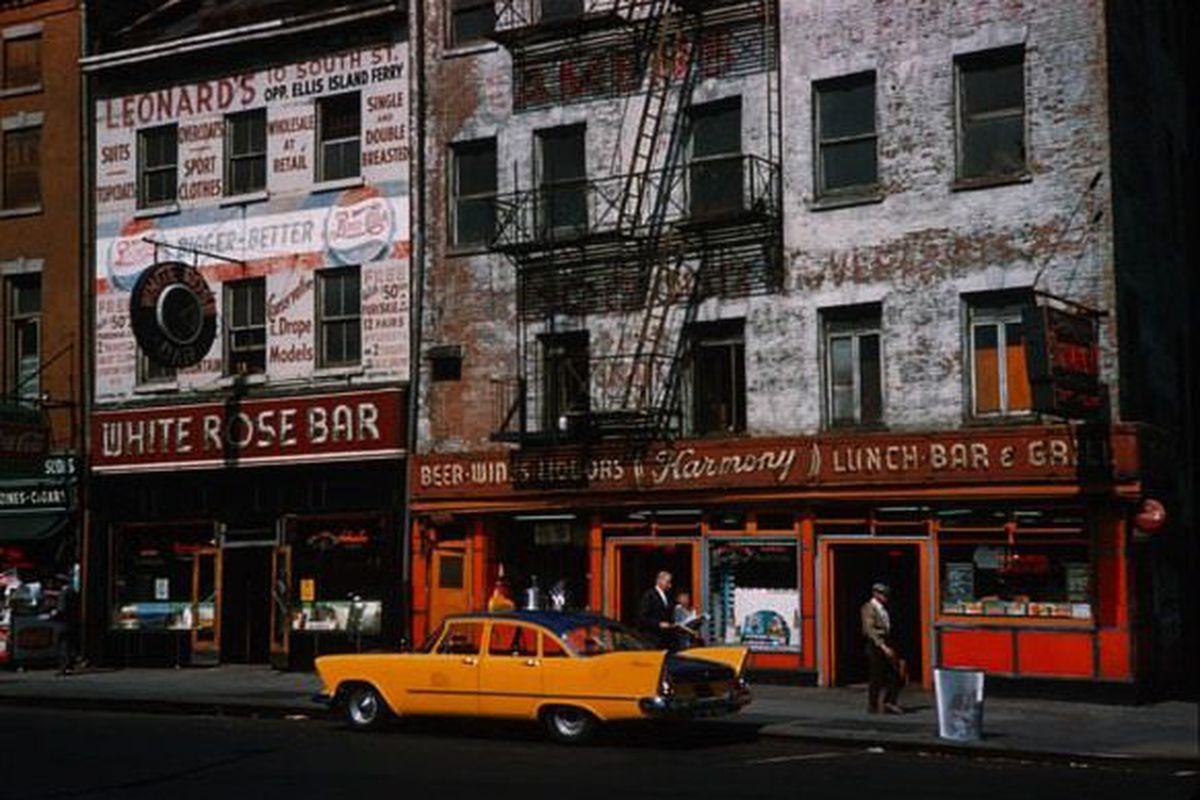 White Rose Bar And Harmony Restaurant Whitehall Street Photo By Charles W Cushman 1960 From The Photograph Collection