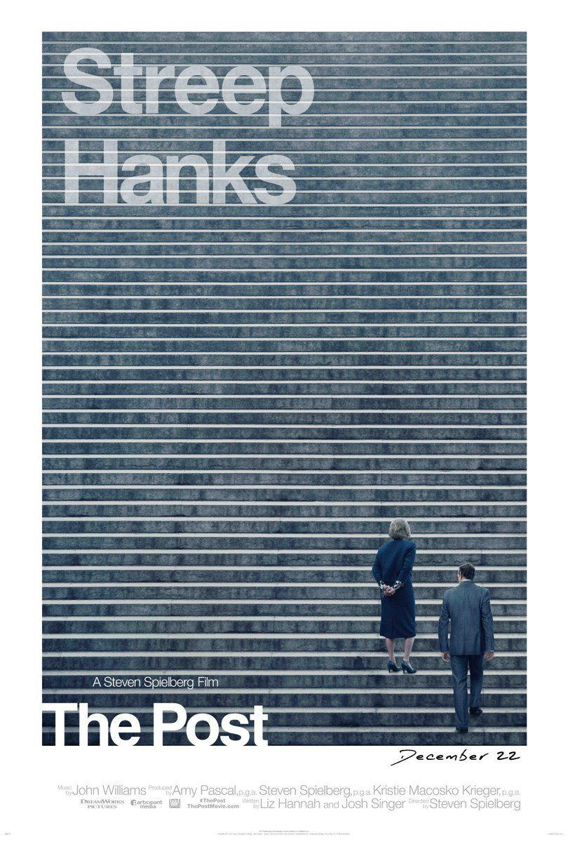 """The movie poster for 'The Post,' which has """"Streep"""" and """"Hanks"""" in Helvetica"""