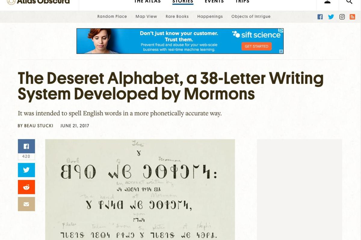 The Deseret Alphabet was a phonetic system created over 150 years ago to help simplify the English language and was used in schools, road signs and even on headstones.