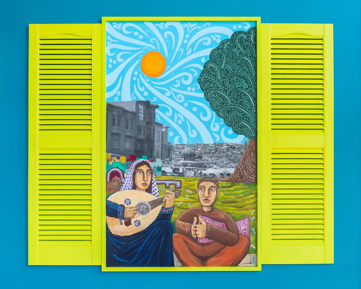 A mural by Mission artist Chris Gazaleh, who is of Palestinian descent, show Palestinians playing music
