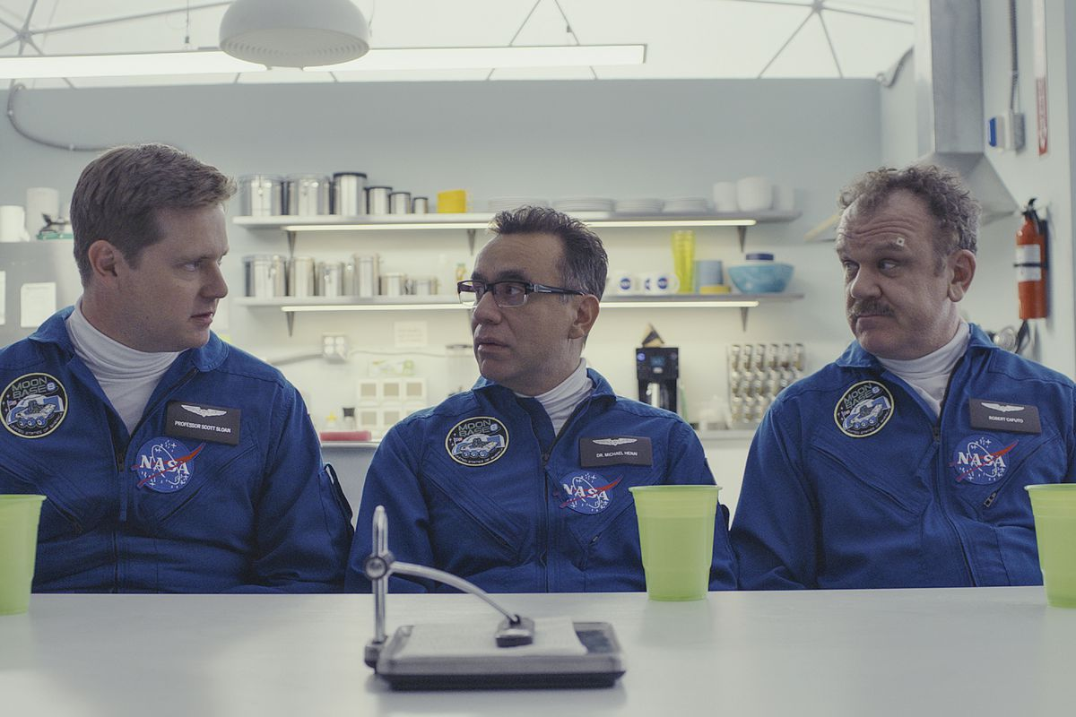 """Tim Heidecker (from left), Fred Armisen and John C. Reilly play astronauts training in a lunar simulator on """"Moonbase 8."""""""