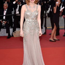 Jessica Chastain in Alexander McQueen at the 'Money Monster' premiere.