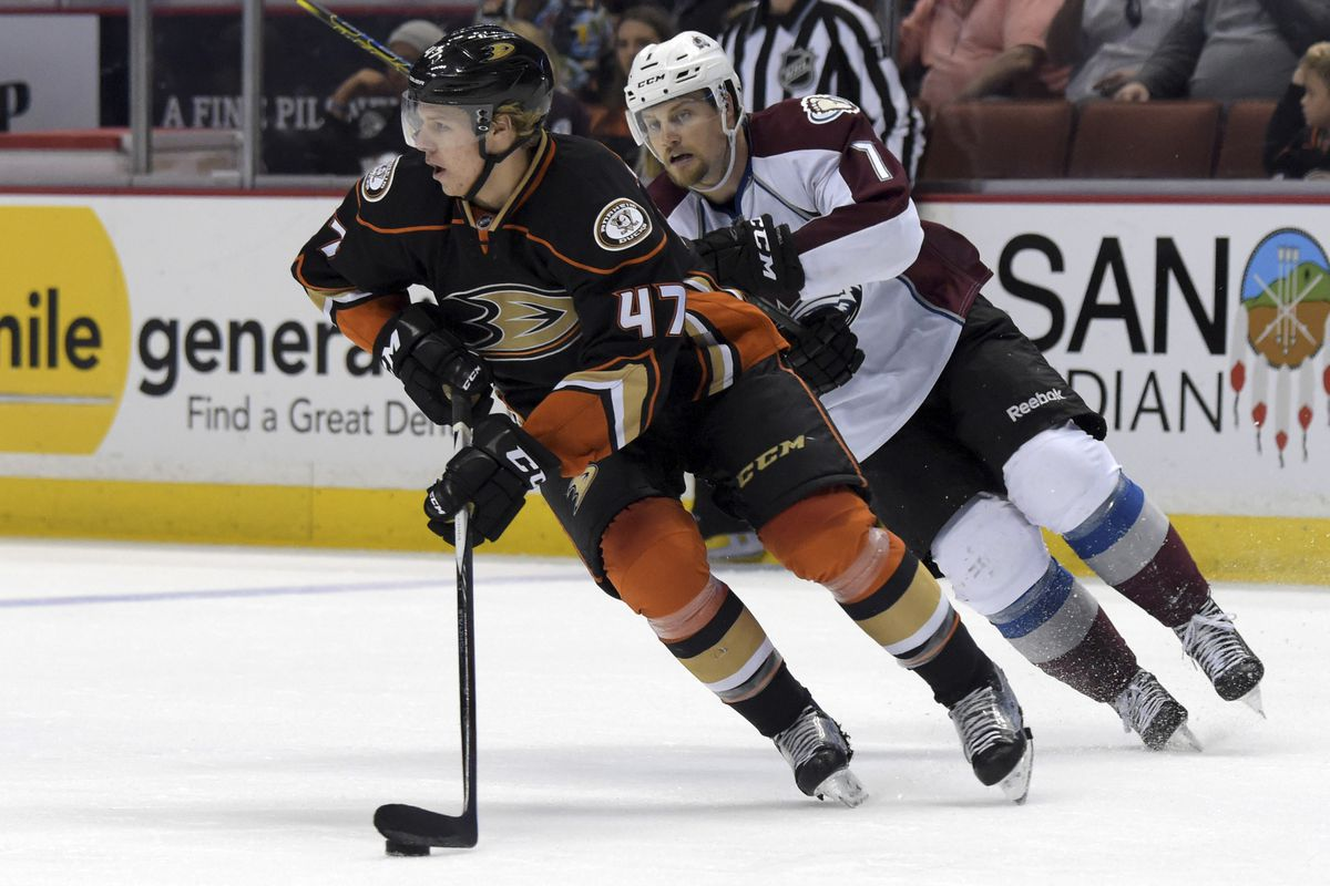 Hampus Lindholm, who had a pair of assists tonight, skates against the Avalanche last season.
