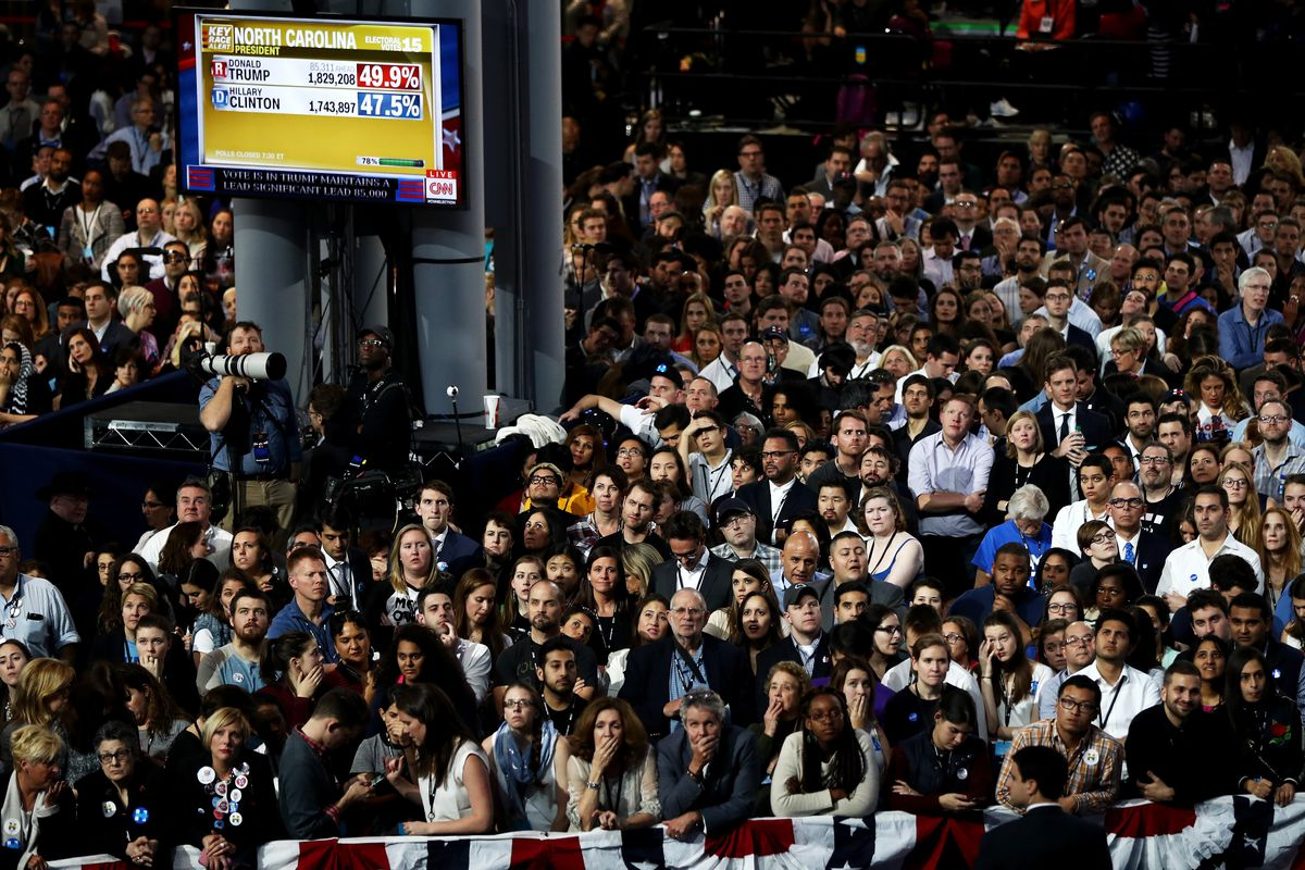 NEW YORK, NY - NOVEMBER 08:  People watch voting results at Democratic presidential nominee former Secretary of State Hillary Clinton's election night event at the Jacob K. Javits Convention Center November 8, 2016 in New York City.