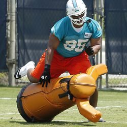 DAVIE, FL - MAY 23: Jibreel Black #95 of the Miami Dolphins participates in drills during the rookie minicamp on May 23, 2014 at the Miami Dolphins training facility in Davie, Florida.