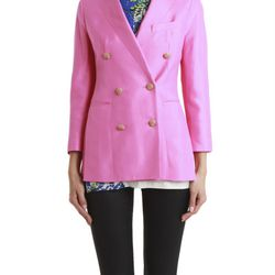 """Double breasted tuxedo jacket in pink and black, $175 (was $695) via <a href=""""http://www.lyst.com/clothing/31-phillip-lim-trompe-loeil-double-breasted-tuxedo-jacket/""""> Lyst </a>"""