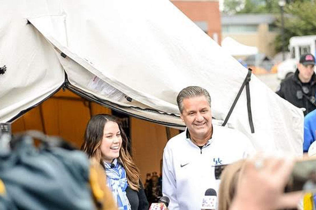 """A look inside the Big Blue Glamping tent. UK-themed gifts for Schlueter, including a tent that is decked out with two twin Tempur-Pedic """"Champions Collection"""" mattresses and pillows."""