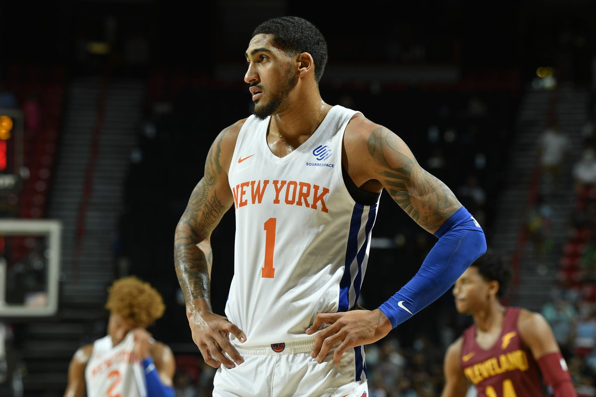 Obi Toppin #1 of the New York Knicks looks on during the game against the Cleveland Cavaliers during the 2021 Las Vegas Summer League on August 14, 2021 at the Thomas & Mack Center in Las Vegas, Nevada.