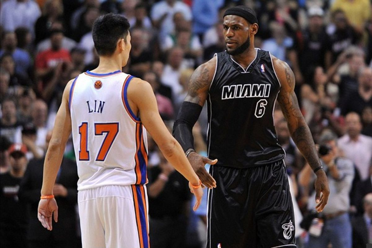 Feb. 23, 2012; Miami, FL, USA; Miami Heat small forward LeBron James (6) and New York Knicks point guard Jeremy Lin (17) during the first half at American Airlines Arena. Mandatory Credit: Steve Mitchell-US PRESSWIRE