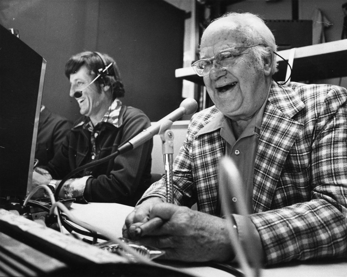 Halsey Hall (right), WCCO radio sportscaster, including Minnesota Twins baseball. Shown with him here in the broadcast booth is Joe Boyle (at left). Minneapolis Tribune staff photo, June 17, 1976, by Pete Hohn.