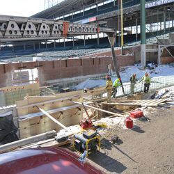 Another view of concrete being delivered in left field