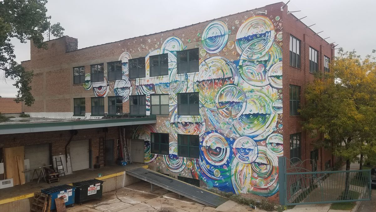 The Bridgeport headquarters of Bubbly Dynamics — which is The Plant's parent company, also founded by John Edel — features this other mural by Joe Miller.