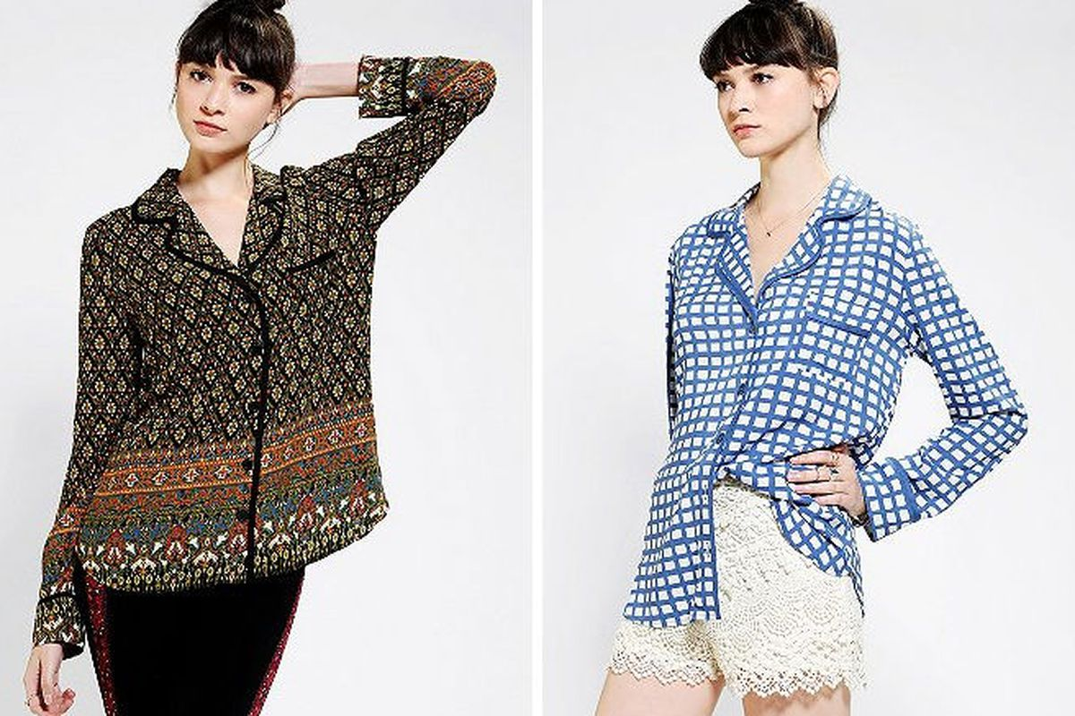 """Both piped pajama blouses are available at <a href=""""http://www.urbanoutfitters.com/urban/catalog/productdetail.jsp?id=27867639&amp;parentid=BRANDS&amp;color=009"""">Urban Outfitters</a> for $99"""