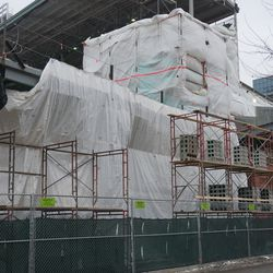 New construction in the left field corner,on Waveland Avenue