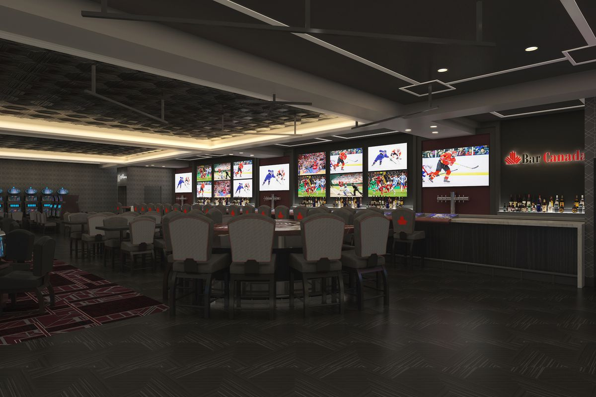 A sports bar with hockey influences