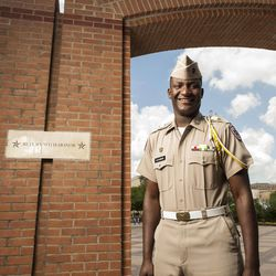 Texas A&M junior Marquis Alexander poses for a photograph by the Corps Arches, the entry point to the Corps of Cadets residence halls, on the A&M campus, Wednesday, April 11, 2012, in College Station, Texas. Alexander has been appointed to Corps Commander, the top leadership position for the A&M Corps of Cadets, for the next year.
