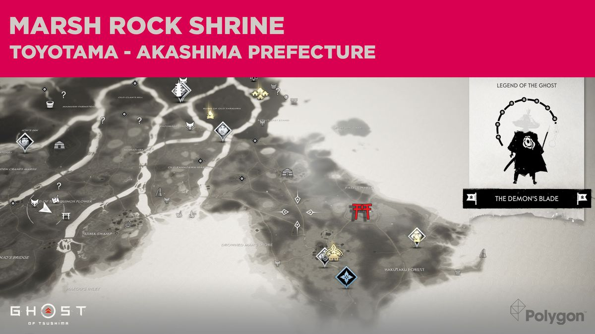The location of Marsh Rock Shrine in Ghost of Tsushima
