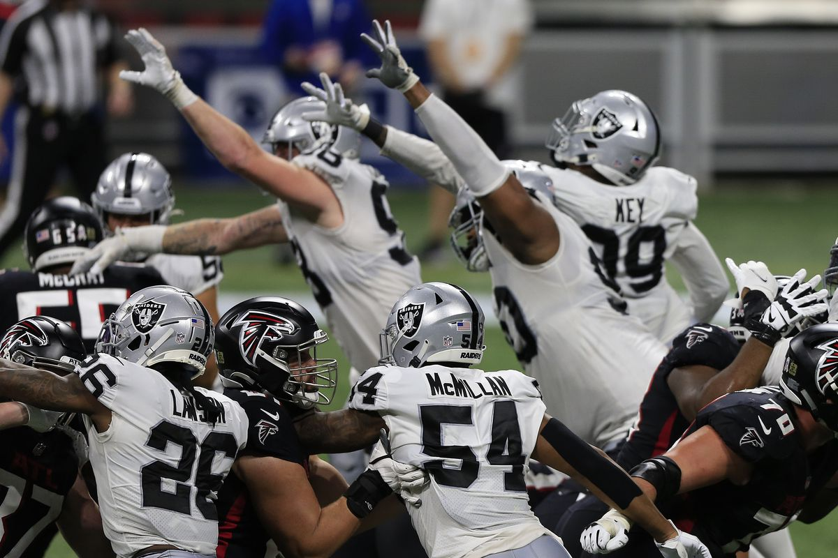 The Raiders defense attempts to block a field goal by the Falcons during the week 12 NFL football game between the Atlanta Falcons and the Las Vegas Raiders on November 29, 2020 at the Mercedes-Benz Stadium in Atlanta, Georgia.