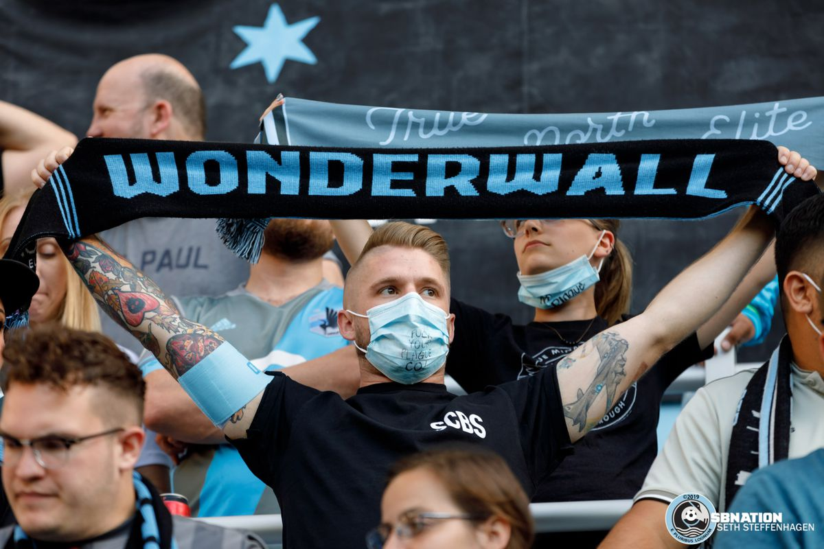August 14, 2019 - Saint Paul, Minnesota, United States - Minnesota supporters wear masks as a jab towards Colorado for their plague-infected prairie dogs prior to the Minnesota United vs Colorado Rapids match at Allianz Field.