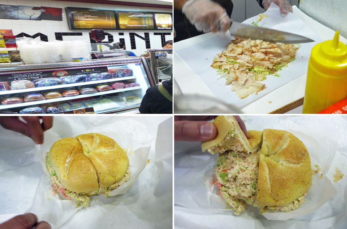 Watch as your chopped sandwich is made at Farmer in the Deli.