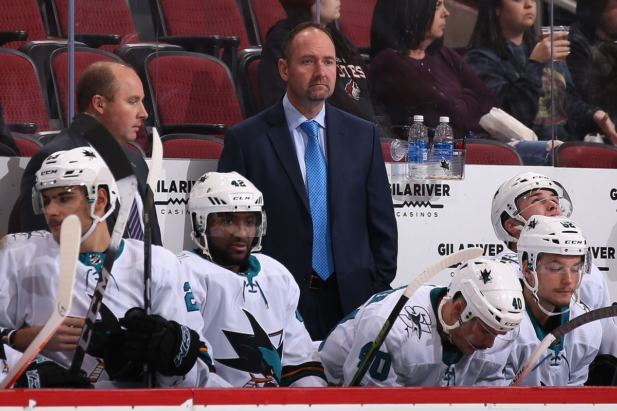GLENDALE, AZ - NOVEMBER 22: Head coach Peter DeBoer of the San Jose Sharks watches from the bench during the third period of the NHL game against the Arizona Coyotes at Gila River Arena on November 22, 2017 in Glendale, Arizona. The Sharks defeated the Co
