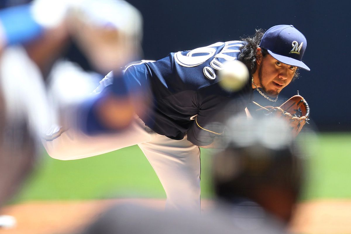 MILWAUKEE, WI - JUNE 20: Yovani Gallardo #49 of the Milwaukee Brewers pitches against the Toronto Blue Jays during the Interleague game at Miller Park on June 20, 2012 in Milwaukee, Wisconsin. (Photo by Mike McGinnis/Getty Images)