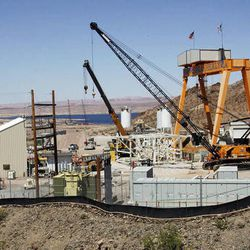 A drinking water intake being built at a shrinking Lake Mead, Tuesday, April 10, 2012.