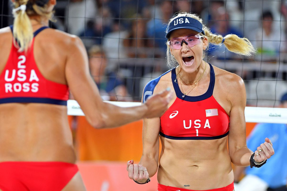 0e848f93fce Jack Gruber-USA TODAY Sports. Kerri Walsh-Jennings and April Ross  first  match ...