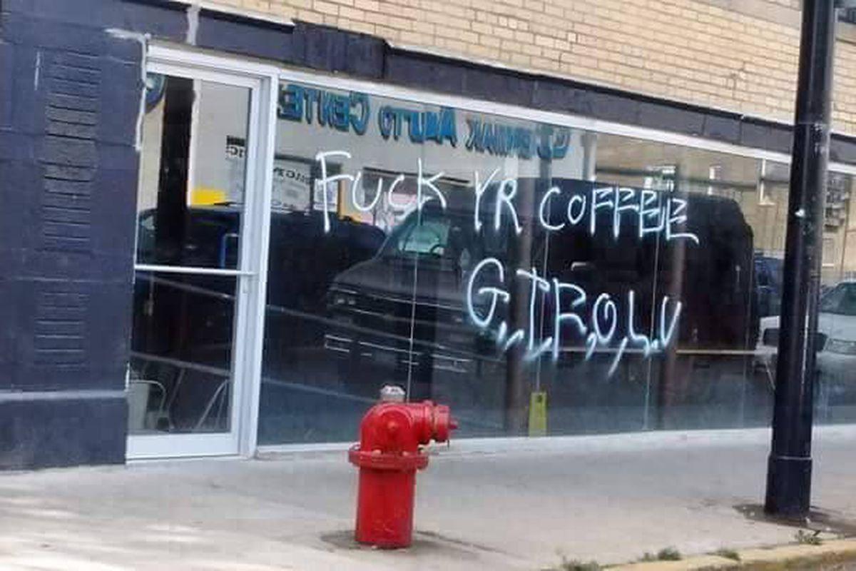 Image result for anti-gentrification vandalism