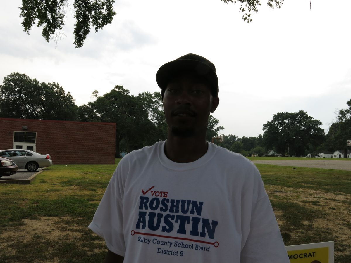 Kevin Moore was campaigning for Roshun Austin at Bethel Church Elementary.