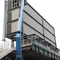 1:35 p.m. The back of the right-field video board -