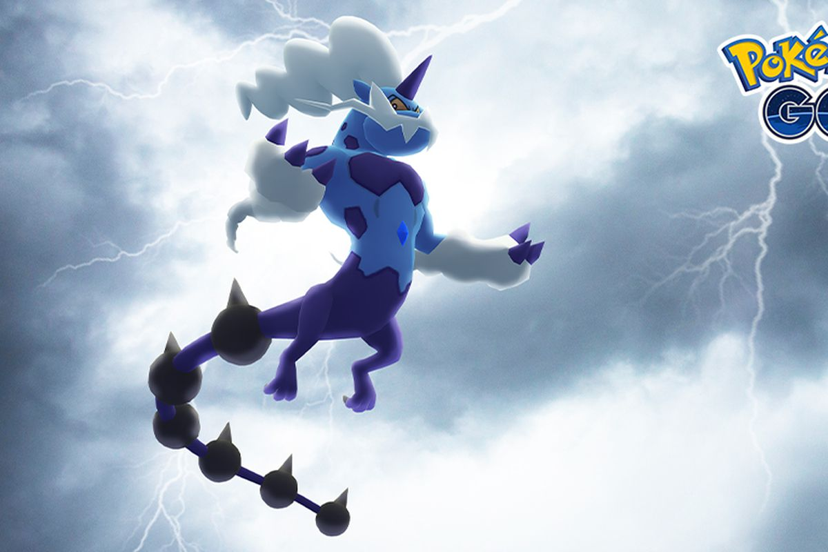 Therian Forme Thundurus stands in a cloudy sky