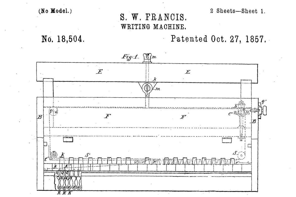 Francis's typewriter actually used piano keys for the letters, as a few early typewriters did.