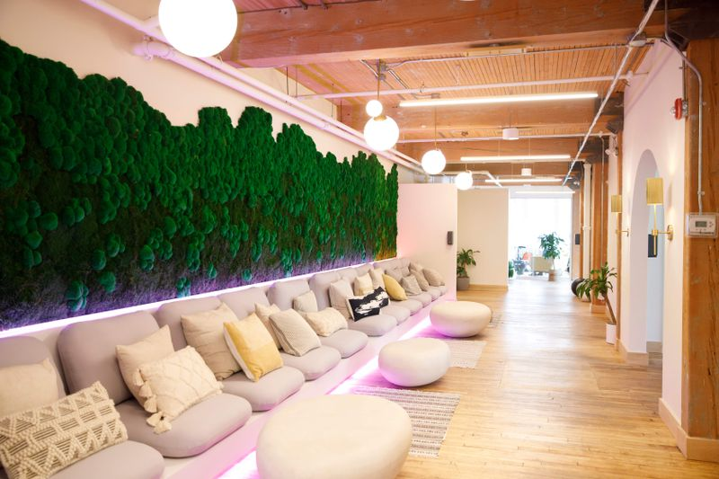 The interior of a Field Trip clinic featuring floor cushions and a live moss wall.