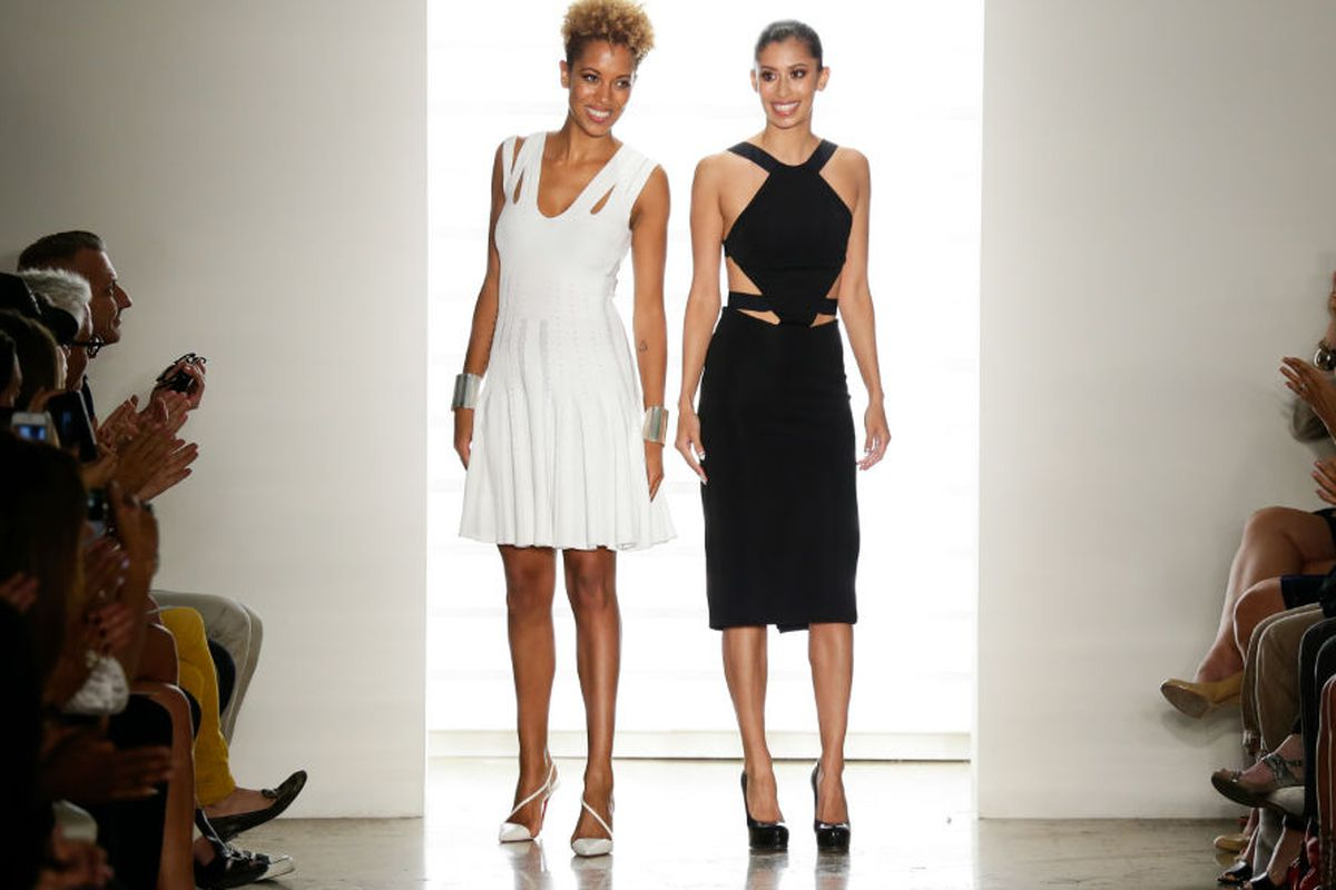Designers Michelle Ochs and Carly Cushnie at their Spring 2014 show at MADE. Photo via Getty.