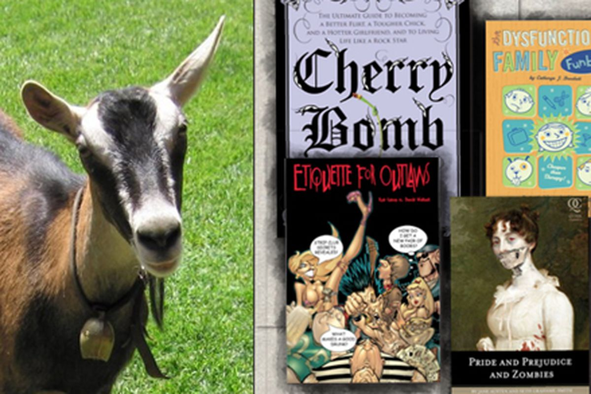 """Two things we love at Racked: Cute goats and cool books. Images via <a href=""""http://www.chivasskincare.com/Goat-Milk-Soap-and-Skin-Care/blog/"""">Chivas Skin Care</a> and <a href=""""http://www.altbookbazaar.com/"""">Alt Book Bazaar</a>"""