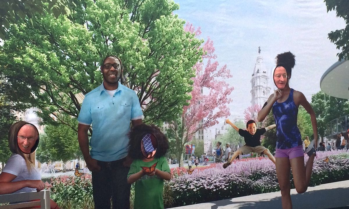 John Crowe of St. Gobain, City Council president Darrell Clarke, and Mayor Jim Kenney stick their heads through a large rendering of Love Park.