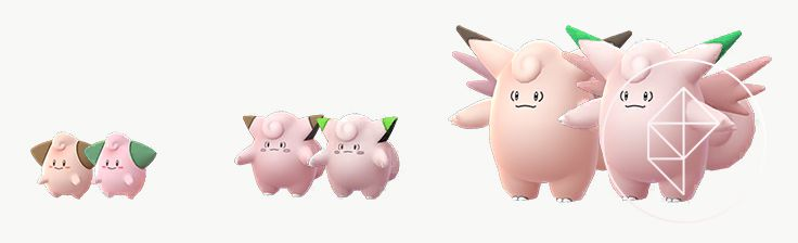 A comparison between Shiny and normal Cleffa, Clefairy, and Clefable. The Shiny versions have green ear tips and are a lighter pink color.