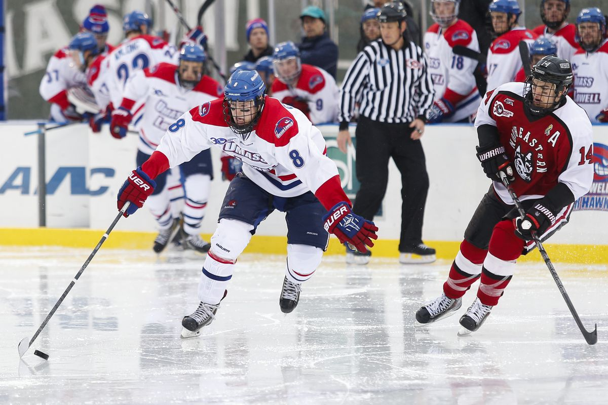 Evan Campbell, pictured here last season against Northeastern, had a goal and an assist.