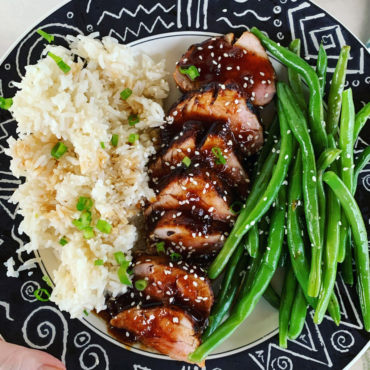 From above, a patterned plate with slices of pork topped with sauce, green beans, and rice