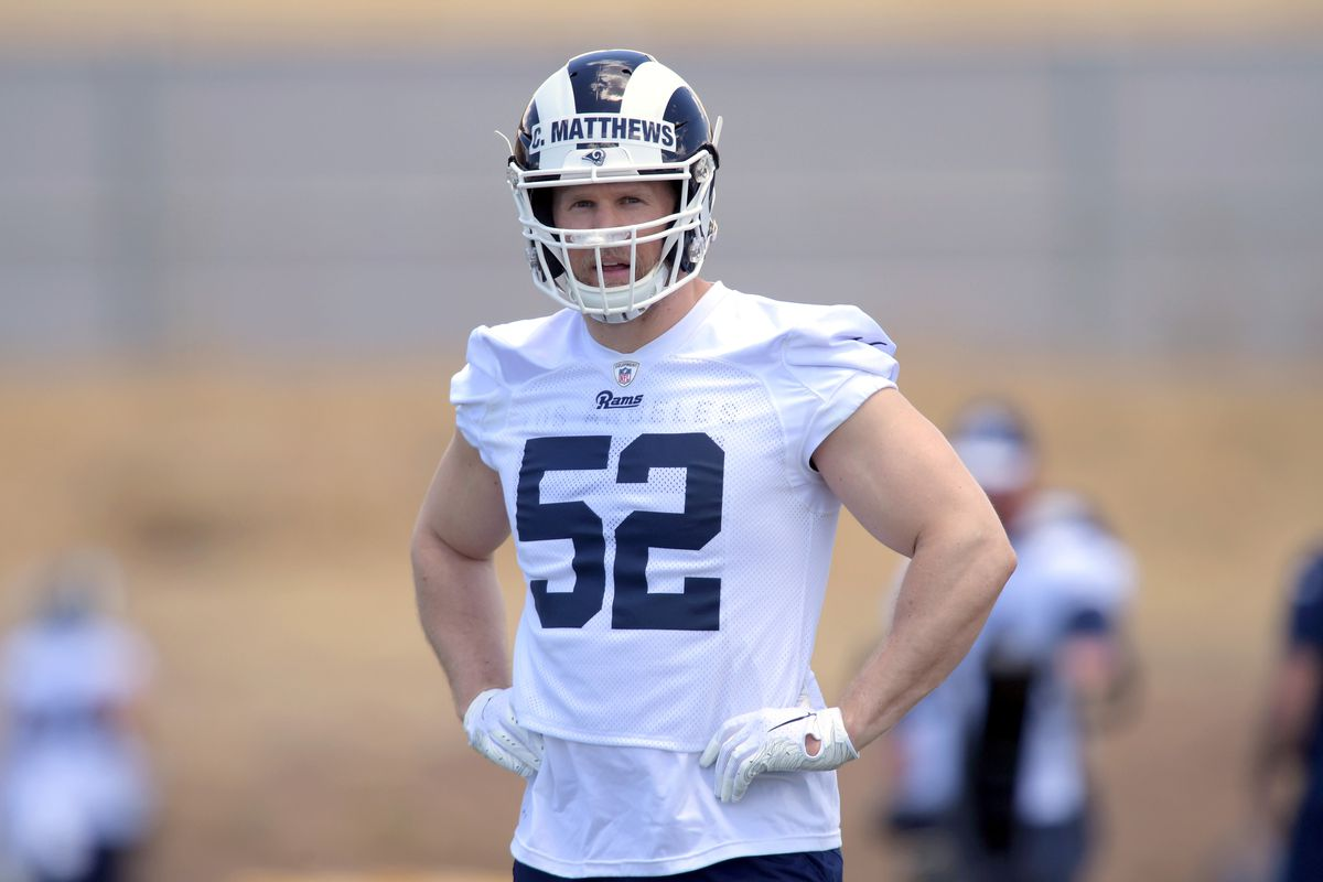 Los Angeles Rams LB Clay Matthews during organized team activities, May 20, 2019.