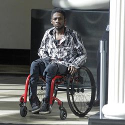 """Abdullahi """"Abdi"""" Mohamed, a Somali refugee who was shot and critically wounded by police in February 2016, arrives at the Matheson Courthouse on Friday, June 23, 2017, in Salt Lake City. Mohamed will be fined $500 after agreeing to a plea deal in what prosecutors call a failed drug deal and assault just before the shooting."""