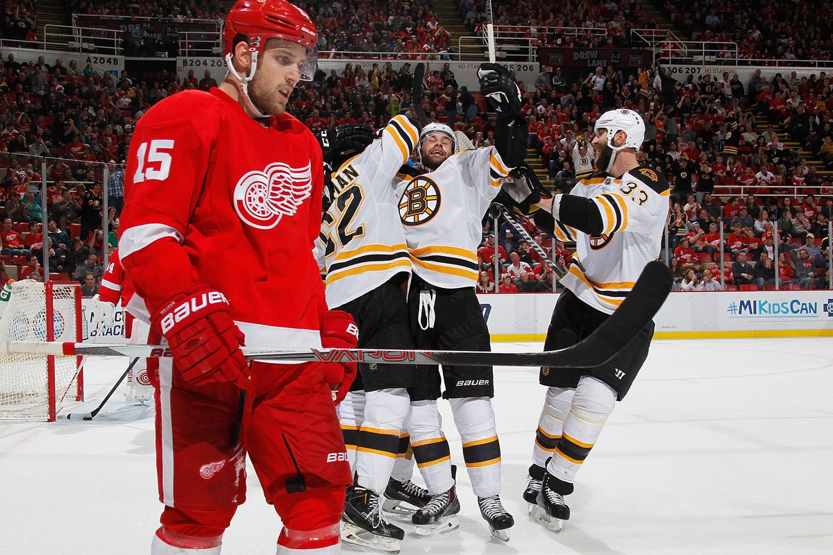 A picture from *a* Bruins/Red Wings game. Just not the one from yesterday.