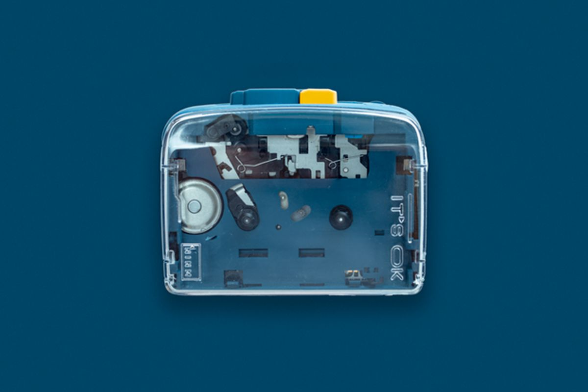 A portable Bluetooth cassette tape player brings retro audio into