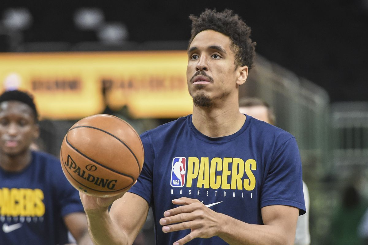 Indiana Pacers guard Malcolm Brogdon warms up before a game against the Milwaukee Bucks at Fiserv Forum.