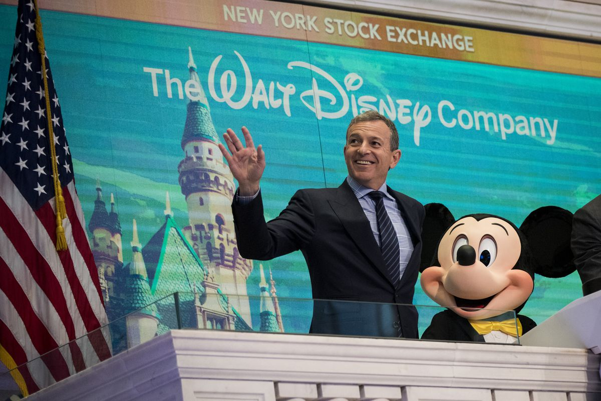 Bob Iger and Mickey Mouse on the floor of the New York Stock Exchange